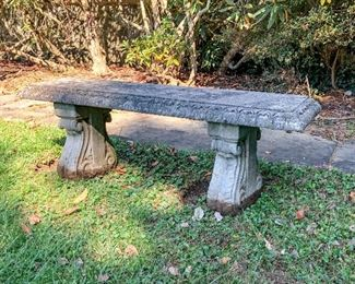 Concrete Outdoor Bench In 3 Pieces