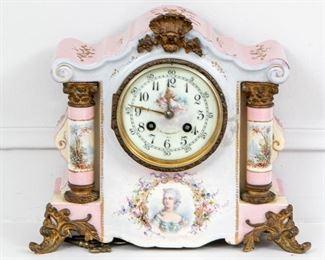 An Ornate Antique T. Hausemann Porcelain Mantle Clock