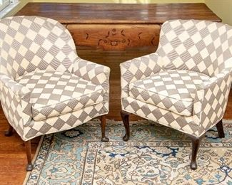 Pair Of Compatible Antique Arm Chairs In Geometric Upholstery Ca. 1920