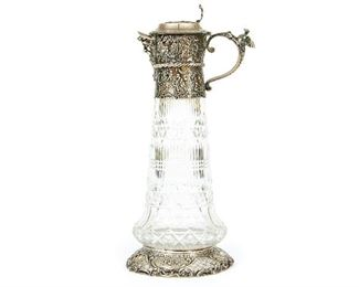 A Fine Well Cast Crystal And Silver Ewer