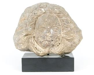 Late Medieval Carved Stone Relief Head