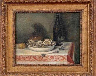 E. Joulian Signed Still Life Oil On Canvas