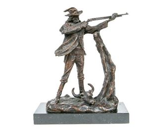 After Charles M. Russell Bronze Sculpture Of A Shooter