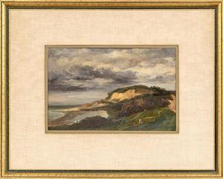 Leon Cogniet (French Academic Painter, 1794-1880) Oil On Board Seaside Coastal Scene