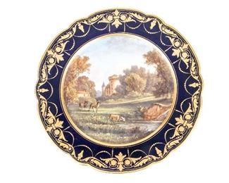 Sevres Antique Hand-Painted Plate With Château De Rambouillet