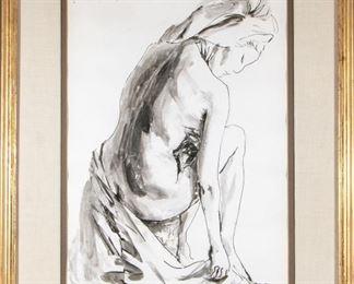 Alejo Vidal-Quadras (1919-1994) Watercolor Of A Female Nude