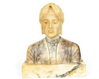 Vintage Carved Marble Bust Of Dante