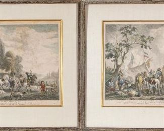 Jean Moyreau (France, 1690-1762) Engravings After Ppe. Wouvermens Paintings- Hunting &