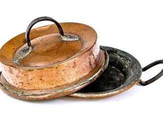 Antique Copper Baker With Dome Lid