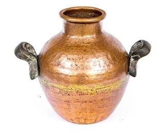 Antique Hammered Copper Handled Vase - 9 Lbs