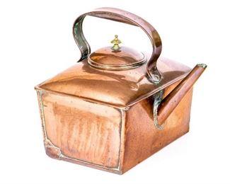 Antique Square Copper Tea Kettle