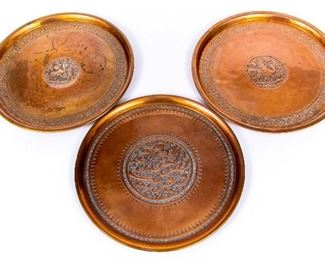 Group Of Three Vintage Copper Trays