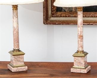 Pair Of Antique Pink Marble Column Lamps - No Shades