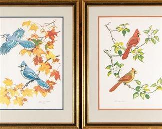 Albert Earl Gilbert Signed National Audubon Lithographs Blue Jays & Cardinals