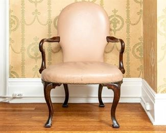 Vintage/Antique Mahogany And Leather Open Arm Chair