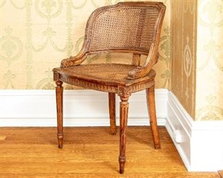 Antique French Caned Carved Armchair