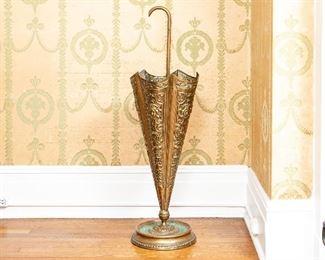 Antique Repose` Brass Umbrella Stand In Umbrella Form