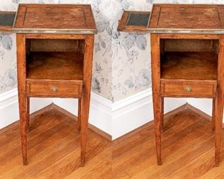Pair Of Antique French Walnut Side Tables With Open Compartments
