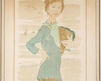 Signed Artist Proof Woman Holding Grocery Bag