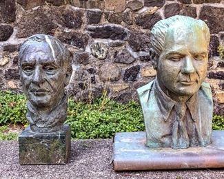 Two Bronze Busts Of Gentlemen