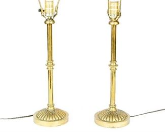 Pair Of Heavy Good Quality Brass Stick Lamps