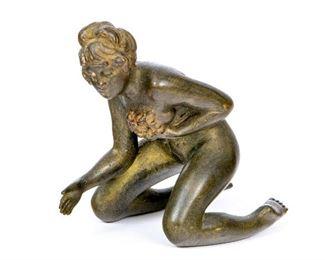 Naughty Vienna Bronze Miniature Kneeling Nude