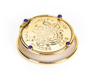 18K Gold & Sapphires Money Clip With Gold Filled Medallion