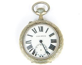 Antique French Indicateur Sterling Silver Pocket Watch Signed Frainier