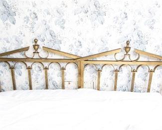 Pair Of Mid Century Twin Polished Bronze Headboards