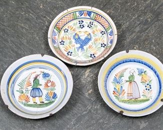 Three Early Quimper France Bowls - As Is