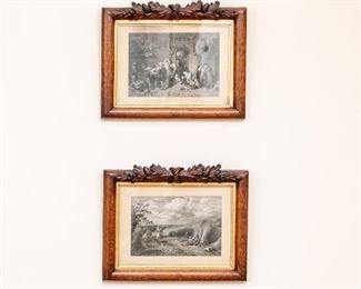 Pair Of Black & White Genre Prints In Carved Wood Frames