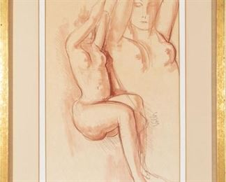 Signed Sanguine Pastel Of Two Nudes