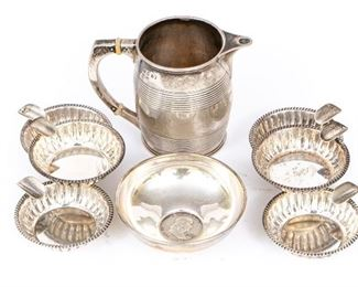 A Group Of Sterling Silver Table Top Objects