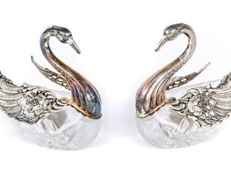 Two Sterling Silver & Glass Swan Salt Cellars With Spoons
