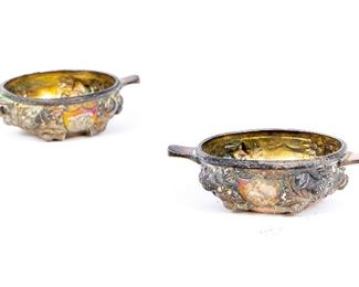 Pair Of Antique English Silver Tabbed Nut Dishes With Thistle Repose