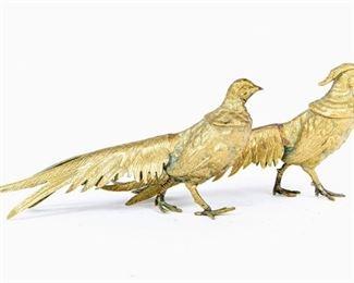 Two Decorative Brass Bird Figures