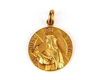 Cartier France 18K Gold Religious Medal