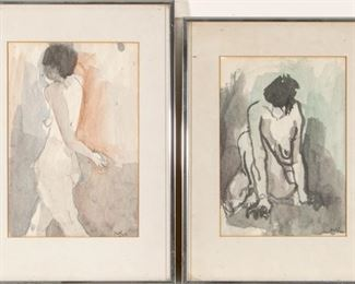 Deckinger Signed Nude Watercolors