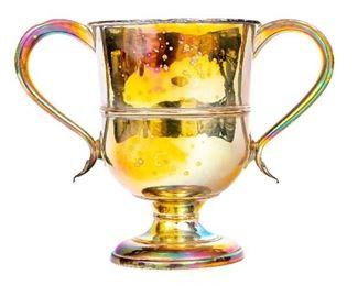 English Georgian Silver Plate Twin Handled Loving Cup