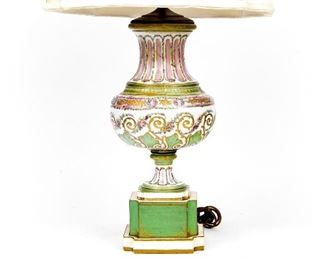 Antique Hand Painted Porcelain Table Lamp