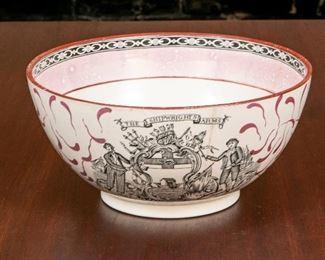 Adams England Antique Bowl With Ship Caroline