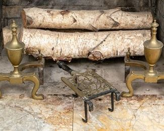 Pair Of Brass Andirons & Trivet