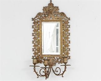 Single Antique Mirrored Wall Sconce