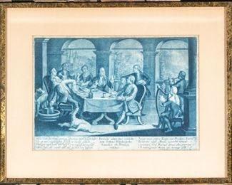 Georg Philipp Rugendas I (Germany, 1701-1774) Mezzotint In Blue Ink