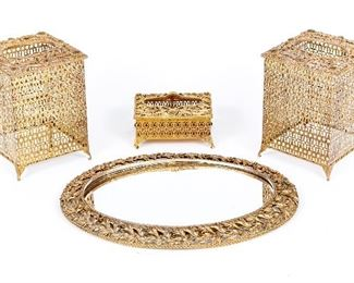 Collection Of Gilt Filigree Vanity Items