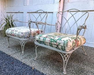 Two White Paint Decorated Wrought Iron Chairs