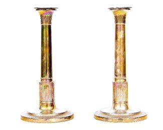 19th Century Sheffield Silver Plate Candle Sticks
