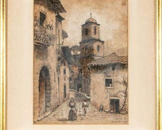 Perez Watercolor Of A Figural Townscape Titled Camino