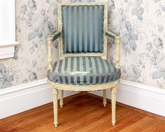 A Fine Napoleon III Paint Decorated Chair Frame