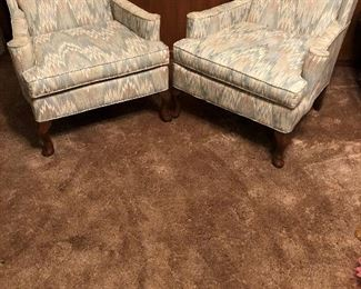 MATCHING PAIR FLAME STICH WINGBACK CHAIRS
